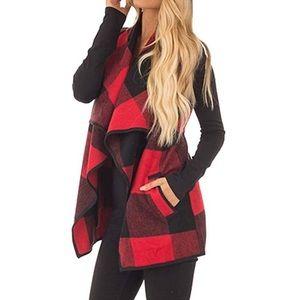 Jackets & Blazers - Sleeveless Plaid Cardigan